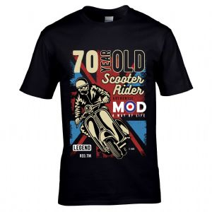 Premium 70 Year Old Scooter Rider MOD Slogan Retro Scooterist Motif 70th Birthday Gift T-shirt Top